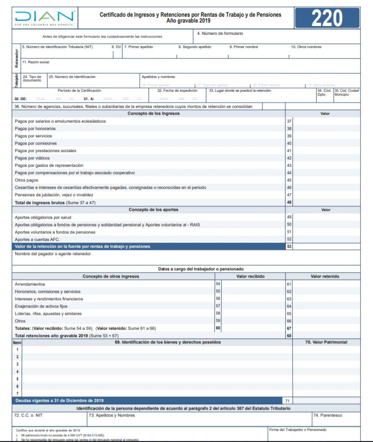 Modelo de Certificado de Ingresos y Retenciones
