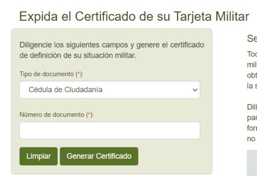 certificado libreta militar Colombia