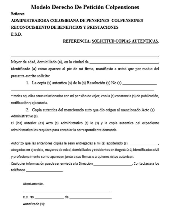 Petición COLPENSIONES