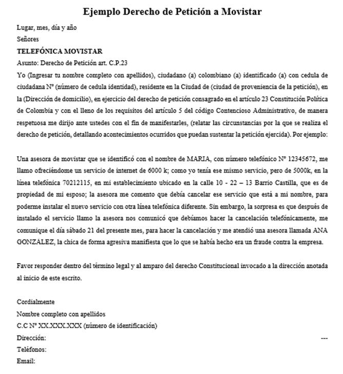 Ejemplo Derecho de Petición a Movistar