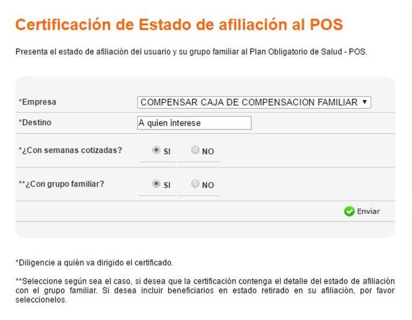 certificado afiliacion compensar